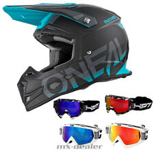 Oneal 5 Series Bloqueador negro Teal CASCO CROSS MX Motocross HP7 GAFAS