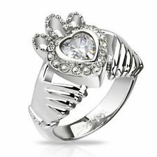 Buffy Anello di claddagh in acciaio inossidabile e zirconi Buffy Claddagh ring