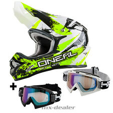 O'NEAL 3Series CHOQUANT néon CASQUE CROSS MX MOTOCROSS Traverser HP7 lunettes