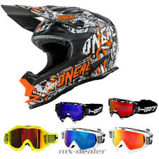 O'NEAL 7series Menace Mate Naranja Neón CASCO CROSS MX Motocross HP7 Gafas BMX