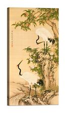 Cranes, Peach Tree, and Chinese Roses Stampa su tela Canvas effetto dipinto