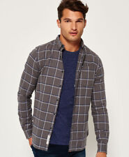 Superdry Hombre Camisa Alumni Oxford Twin Pane Check Char
