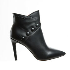 TRONCHETTO DONNA CON TACCO DEL BRAND GAI MATTIOLO IN PELLE LEATHER NERA CON ZIP