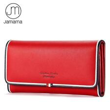 Ladies Genuine Leather Long Wallet Red Clutch Mobile Card Coin Holder Purse