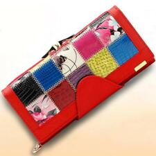 Women's Designer 3 Fold Patchwork Hasp  Genuine Leather Wallet