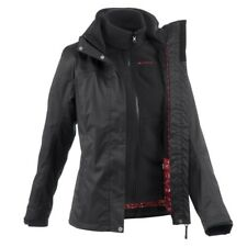 3-IN-1 QUECHUA RAIN WARM WOMEN'S TREKKING HIKING CAMPING OUTDOOR JACKET - BLACK