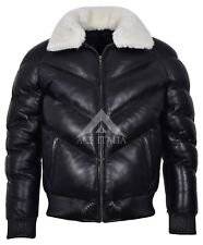 ACE Men's Puffer Black Real Leather Jacket White Sheep Fur Collar Winter Warm