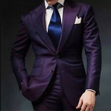 2018 Purple Groom Tuxedos Men Wedding Suits Jacket Two Button Groomsmen Custom