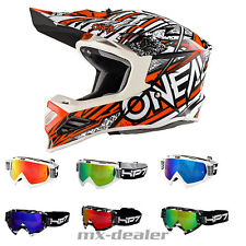 O'NEAL 8Series synthy Arancione casco cross MX MOTOCROSS + HP7 brile BMX
