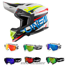 O'NEAL 8Series Agressor BIANCO BLU CASCO CROSS MX MOTOCROSS + HP7 OCCHIALI