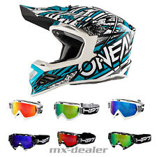 O'NEAL 8Series synthy BLU CASCO CROSS MX motocross enduro + HP7 OCCHIALI