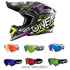 O'NEAL 8 Series synthy ROSA NEGRO CASCO CROSS MX Motocross + HP7 GAFAS