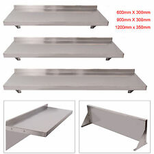 600/900/1200mm Stainless Steel Wall Shelf Mounted Kitchen Shelves W/  Brackets
