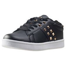 City Shoes Valent Strut28 Womens Black Synthetic Casual Trainers Lace-up