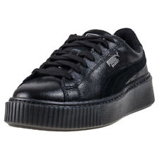Puma Basket Platform Ns Womens Black Leather Casual Trainers Lace-up New Style