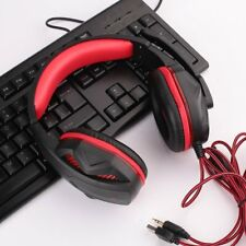 USB 3.5mm Wired LED Luminous Super Bass Gaming Headphone w/ MIC For PC Gamer