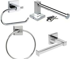 Square Toilet Roll Holder Wall Mounted Bathroom Shower Towel Ring Hose Pipe UK