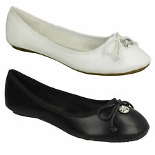 SPOT ON LADIES F8R0014 BOW DETAIL FLAT CASUAL BALLERINA SLIP ON DOLLY SHOES