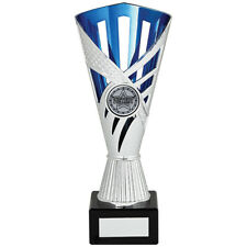 Multi sport Award Cup Dominoes Equestrian Music FREE Engraving SILVER & BLUE