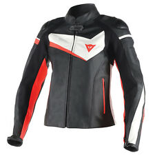 DAINESE Veloster Nero/Bianco/Fluo Rosso Moto Donna Giacca in pelle