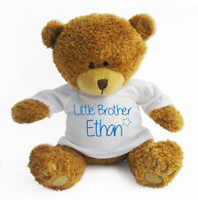 Personalised Little Brother / Sister Teddy Bear - Soft Toy - New Baby Gift
