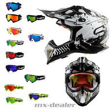 LS2 MX 470 SUBVERTER INTRUDER NERO + HP7 OCCHIALI MX Casco da cross motocross