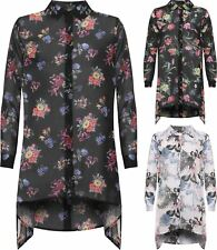 Womens Floral Print Chiffon Dipped Hem Shirt Ladies Long Sleeve Hanky Hem Top