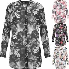 Ladies Floral Sheer Chiffon Button Collar Shirt Womens Long Sleeve Parties Top