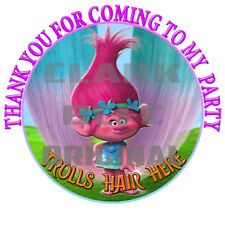 70 x Trolls Hair Here 37mm stickers birthday party cone candy floss labels