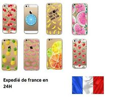 Coque Gel silicone souple Iphone 4 ,4S  5c  , 5s 6/6S Fruits  , ananas , fraise