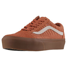 Vans Old Skool Platform Womens Tan Suede Casual Trainers Lace-up New Style