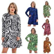 WOMENS ANIMAL ZEBRA PRINT SWING DRESS LADIES NEON SKATER DRESS PLUS SIZE 8-26