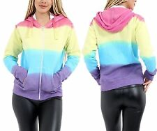 Womens Rainbow Tie Dye Hoodie Ladies Long Sleeve Zip Up Hooded Sweatshirt Top