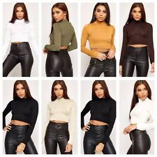 Womens Turtle Neck Crop Ladies Long Sleeve Plain Polo Short Stretch Top