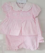Spanish Style Baby Girl Smocked Pink / White Candy Striped Dress & Bloomers