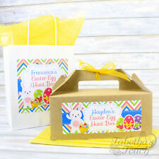 Personalised Kids Easter Egg Hunt Gift Party Treat Bag or Box and Tissue Paper