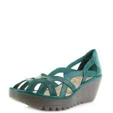 Womens Fly London Yadi Verdigris Green Leather Wedge Heel Sandals Shu Size