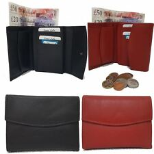Leather Wallet for Men Women Tri-Fold Quality Money Coin Card Id Holder