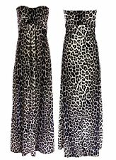 Womens Leopard Print Knot Front Boob Tube Maxi Dress Ladies Strapless Long Dress