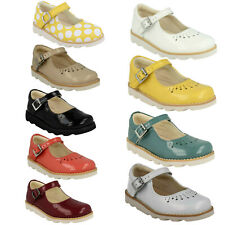 GIRLS CLARKS INFANT LEATHER BUCKLE MARY JANE BAR DRESSY PATENT SHOES CROWN JUMP
