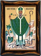 Patrick of Ireland  Saint Catholic Christian Handmade wood icon  on plaque
