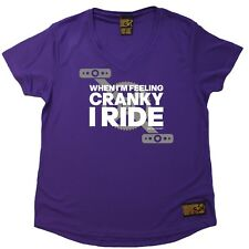 Ladies Cycling Tee When Cranky I Ride Breathable DRY FIT V NECK T-SHIRT