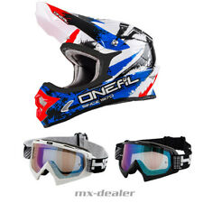 O'NEAL 3Series SHOCK BLU CASCO CROSS MX motocross HP7 OCCHIALI ENDURO