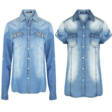 Women's Denim Diamante Ladies Shirt Long & Short Sleeve Sequin Pocket Shirts Top
