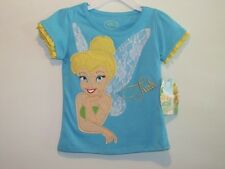 New Girl's Disney Fairies Turquoise Blue Appliqued TINKERBELL Shirt,  Size  2T