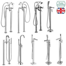 BATHROOM MODERN CHROME BRASS FREESTANDING FLOOR MOUNTED SHOWER MIXER TAP HANDSET