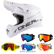 O'NEAL 3Series FLAT BIANCO OPACO CASCO CROSS MX motocross occhiali da enduro