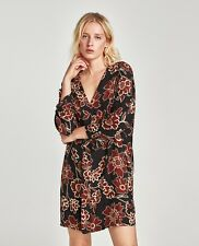 ZARA FLORAL PRINT DRESS WITH RUFFLE DETAILS Multicoloured NAVY BROWN 8452/172 S