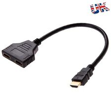 HDMI Male to 2 port HDMI Female Splitter Extension Cable Adapter HD UK