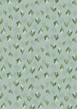 LEWIS & IRENE FLO'S WILDFLOWERS LILY OF THE VALLEY DUCK EGG 100% COTTON FLO11.3